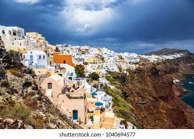 View of the city of Oia on the island of Santorini and the waters of the Aegean Sea in Greece