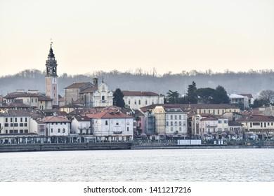 view of the city oleggio angera bergamo north italy