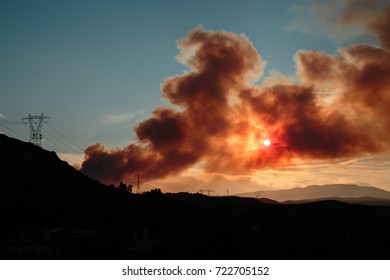 View from the city of Orange of the wild brush fire called the Canyon Fire near Corona, California on September 26, 2017.