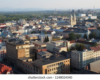 View of the city of Ostrava Czech Republic at the summertime and sunny weather as seen from the top of the city hall. View from City Hall to the surrounding Ostrava, city in Europe.