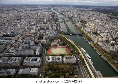View of the city of Paris from the height of the Eiffel Tower