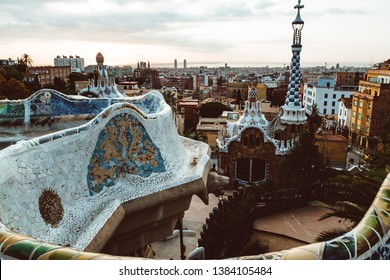 View of the city from Park Guell in Barcelona. February 2019