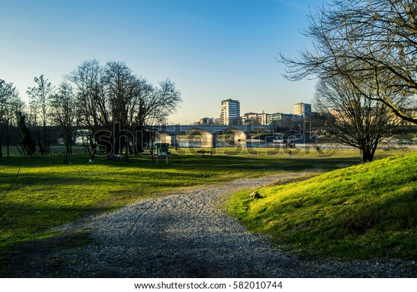 view of city park in Pavia city in sunny day