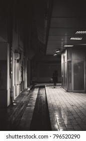 A view of a city passage, a lonely girl passes, a nighttime winter scene.