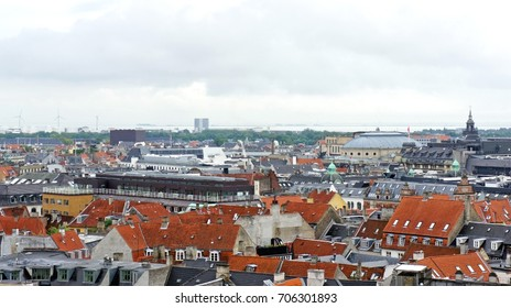 View of the city from the platform at the top of the Rundetaarn or Round Tower in central Copenhagen, Denmark.