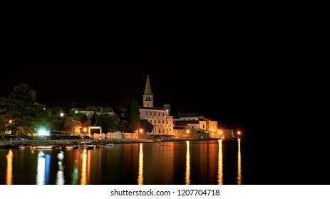 View of the city Porec in Croatia in the night