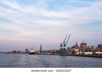 View to the city port in Rostock, Germany.