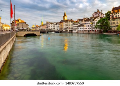 View of the city promenade and the facades of medieval houses at dawn. Zurich. Switzerland.