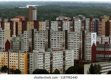 a view in to a city quater of Petrzalka in the new city of the city  Bratislava in Slovakia in east europe.   Slovakia, Bratislava, May, 2009