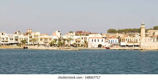 View of the city of Rethymno from see. Island of Crete. Greece