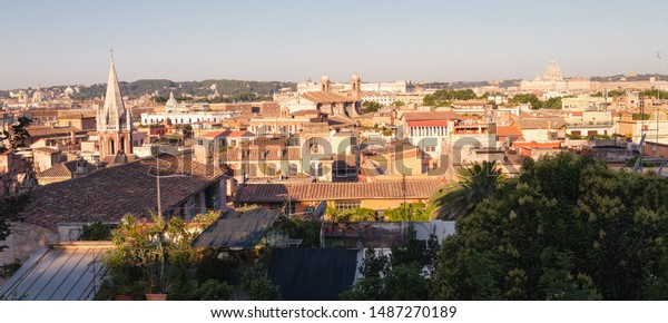 View City Rome Above Hill Terrazza Stock Photo Edit Now