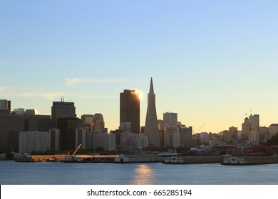 View of the city of San Francisco, California, USA from the river, the bay.