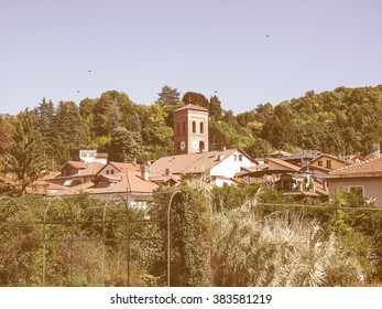 View of the city of San Mauro, Italy vintage