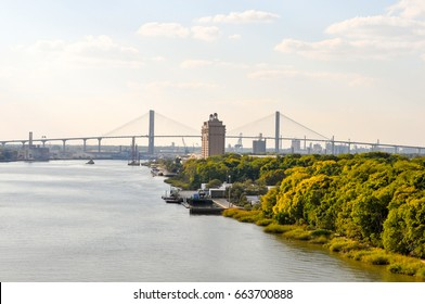 View of the city Savannah USA from the bay