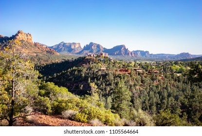 View to the city of Sedona with red rocky mountans landcape