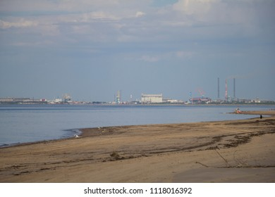 View of the city of Severodvinsk from the sea. Russia, Arkhangelsk region