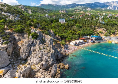 View of the city of Simeiz from the cliff of Diva, Crimea