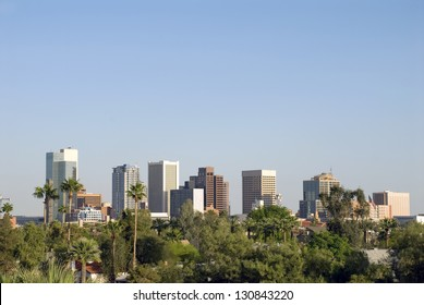 View of the city skyline of beautiful Phoenix, Arizona