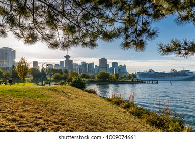 View of city skyline and Vancouver Lookout Tower from CRAB Park at Portside, Vancouver, British Columbia, Canada, North America 12 September 2017