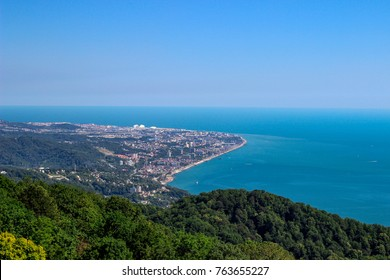a view of the city of Sochi, the city by the sea, horizon, skyline