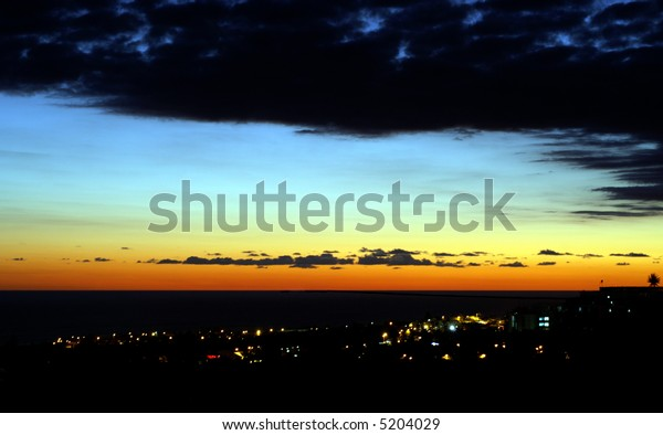 view of city at sunset, Reunion island