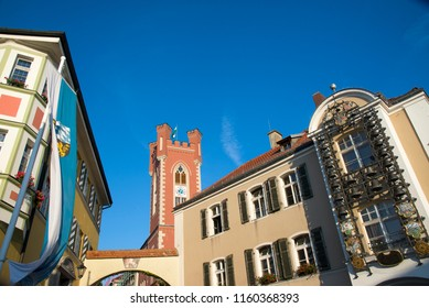 A view of the city tower and historical buildings in the center of Furth im Wald, Bavaria, Germany.