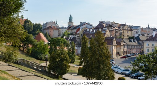 View of the city from the tower of the Lublin Castle. Lublin. Poland. 26. August. 2015. From the observation deck of the castle opens a panorama of the city. Donjon Tower