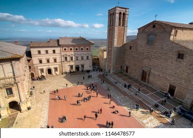 View from a city tower of Montepulciano, Tuscany.