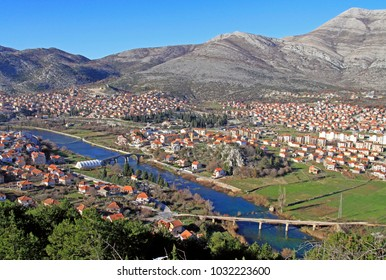 view of city Trebinje in Bosnia and Herzegovina from the hill