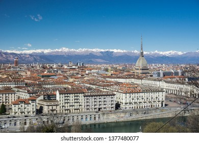 View of the city of Turin from Monte dei Cappuccini Hill, Piedmont, Italy