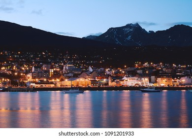 View of the city of Ushuaia at the night. Tierra del Fuego, Argentina.