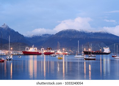 View of the city of Ushuaia at the sunset. Tierra del Fuego, Argentina.