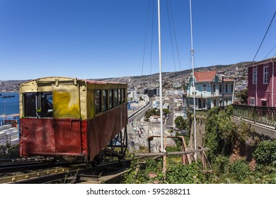 View at the city of Valparaiso from the Ascensor Artilleria elevator, Valparaiso, Chile (South America)