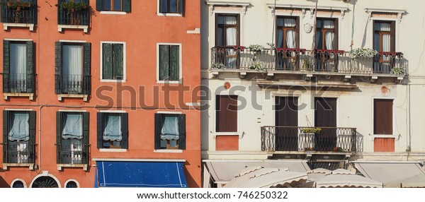 View of the city of Venice from the canal of Venice, Italy