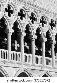 View of the city of Venice, Italy in black and white
