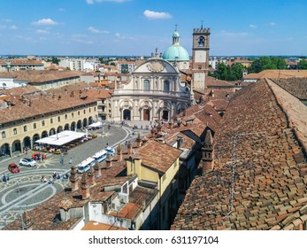View of the city of Vigevano, Italy, from the top of the stronghold castle on the Bramante tower