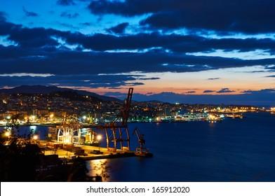 A view of the city of Vigo after sunset. Galicia, Spain