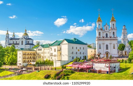 View of the city of Vitebsk and the Resurrection Church. Belarus, Vitebsk. May 19, 2018