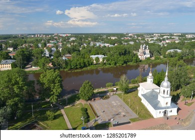 View of the city of Vologda from the observation deck of the bell tower of St. Sophia Cathedral. Vologda region, Russia.