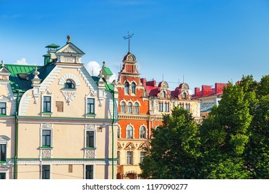 View of city of Vyborg, Russia, Leningrad Oblast.  Building in Vyborg. Roof of houses. Cityscape. August, 2018.