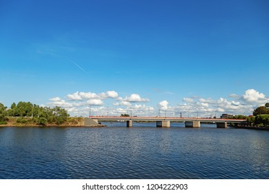 View of city of Vyborg, Russia, Leningrad Oblast.  Bridge in Vyborg bay. Cityscape. August, 2018.