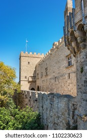View of city walls and Grand master palace (Rhodes, Greece)