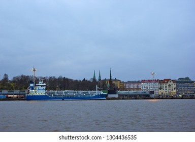 View of the city from the water with ship and buildings in Helsinki, Finland