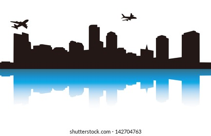 the view of the city,city and plane--the view of the guangzhou