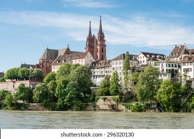 View up to the cityscape of Basel with its famous red sandstone cathedral.