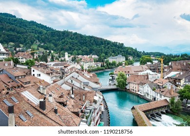 View to cityscape of town Thun in Swiss