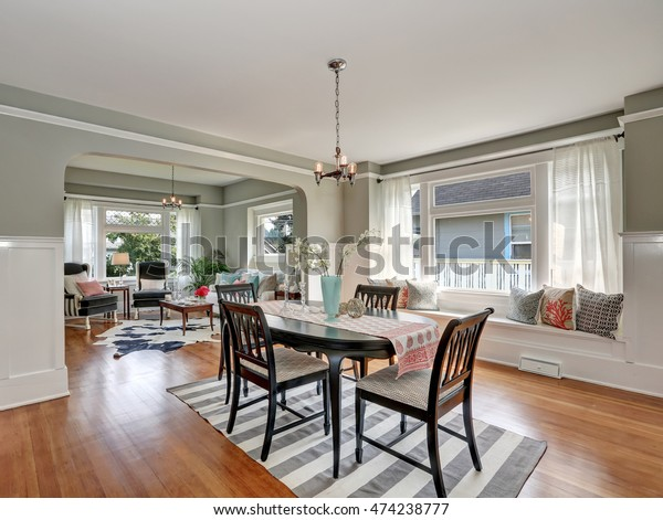 View Classic Dining Room Gray Walls Stock Image   Download Now