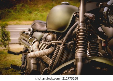 View of a classic motorcycle of adventure