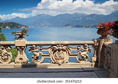 View of classic terrace in the park of villa Balbianello, Como lake, Italy.