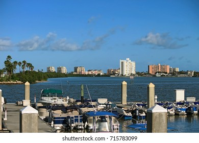View from Clearwater Harbor Marina located in downtown Clearwater, Florida just opposite Coachman Park and at the start of Memorial Causeway Bridge.